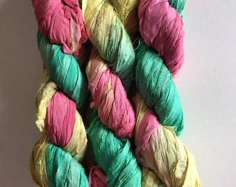 100 Gram Silk Sari Ribbon-Yellow, Seafoam, Melon Sari silk Skein-50-60 Yards