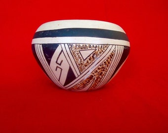 HOPI NATIVE AMERICAN Polychrome Bowl Signed L. Dashee Water Fox Vintage