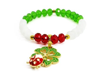 (Green, white and red) Czech glass bracelet