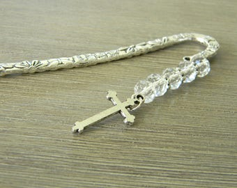 Silver Cross Bookmark with Clear Glass Beads Shepherd Hook Steel Bookmark Silver Color Detailed Flower Bookmark