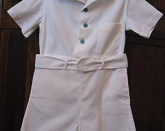 Shirt and Buttoned Pants Outfit With Belt, Little Boy, Circa 1940, White Cotton