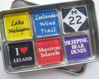 LELAND, Michigan Leelanau, Sleeping Bear, Empire, M22, Michigan, Manitou, Up North Michigan, Fridge Magnets, Refrigerator Magnets, Michigan