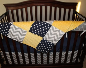 Navy Dot, Gray Chevron, Yellow, and Gray Dot Crib Bedding Ensemble with Patchwork Blanket