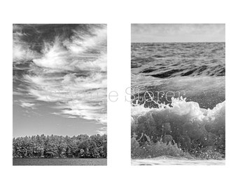 Sky and Sea Diptych, Black and White Photography