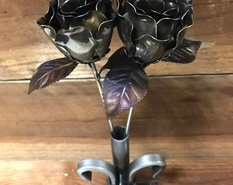 2  steel roses with unique steel vase steel anniversary Mother's Day  11thwedding gift metal art metal Valentine's Day gift
