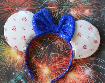 Anchors Away! Nautical Red White Blue Patriotic Minnie Mouse Ears QUICKSHIP