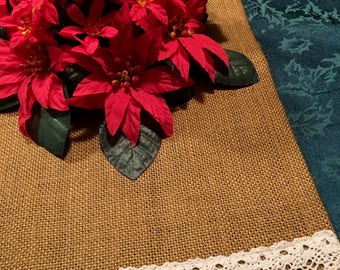 Small antique gold burlap table runner, 2 sizes, with cotton crochet trim for Fall, Thanksgiving, holidays