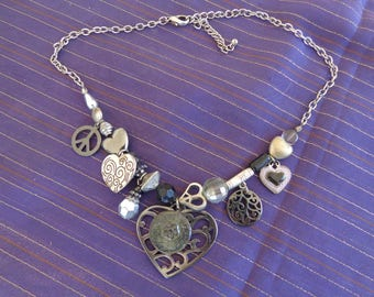 Necklace    Peace Necklace with Hearts, beads and peace symbols  On chain with