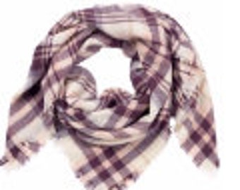Plum plaid blanket scarf, monogrammed scarf