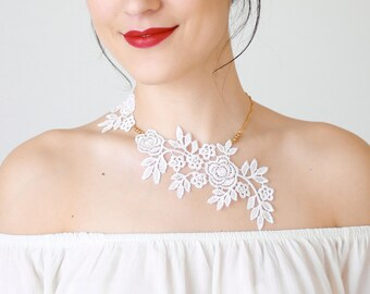 Lace Necklace Statement Necklace White Necklace Bridal Necklace Wedding Necklace Bridal Jewelry Wedding Jewelry Gift For Her/ LUCINA