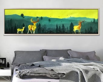 Scenery painting,Abstract painting,the mountain sight with deer and bird,Wall Pictures for living Room Home Decor,Hand Painted Original
