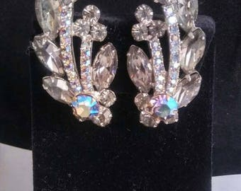 ON SALE Stunning Rhinestone Earrings - High End Estate Jewelry - 1950's 1960's Old Hollywood Glamour Style Jewelry