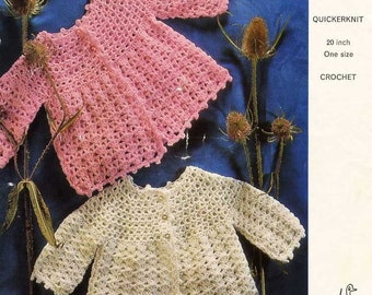 Vintage Crochet Baby Matinee Coats quickerknit Emu 8403 instant download crochet pattern