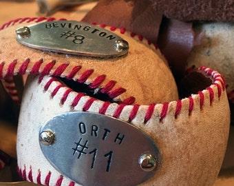 Personalized real leather baseball Cuff - custom stitch color - baseball mom - little league MLB fan jewelry // Personalized bracelet