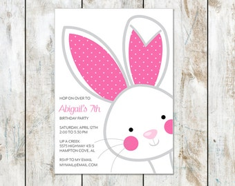 Bunny Birthday Invitation - Hop on Over Bunny Invitation - Bunny Party - Easter Party Invitation - Printable Easter Invitation