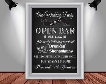 Wedding Open Bar Sign, Chalkboard Style, Reception Decor, Digital File, Instant Download