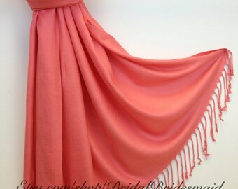 Wedding Season SALE - CORAL PASHMINA - coral shawl - bridal scarf - bridal shawl - bridesmaid gift - wedding gift - scarf - shawl - gift -