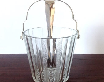 Vintage HELLER CO. Clear Pressed Glass Ice Bucket w/Metal Handle & SS Ice Tongs
