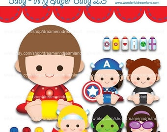 50% OFF Superhero Baby Girls 2.2 - PNG SVG Eps Vector Cliparts Clip Arts File Instant Download Printable Digital Scrapbooking Kit