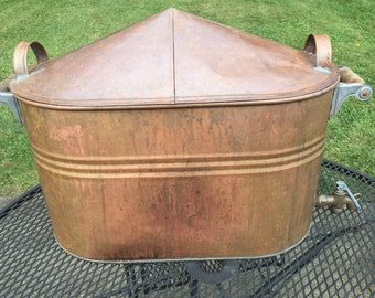 Antique Copper Boiler with Domed Lid, Wire Rack and Spigot, Heavy Wash Pot Wooden Handles, Vintage Rustic Farmhouse Decor