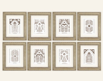 Set of 8 Antique French Garden Plans In Sepia, Sea Glass Blue or Navy Blue Archival Prints on Watercolor Paper