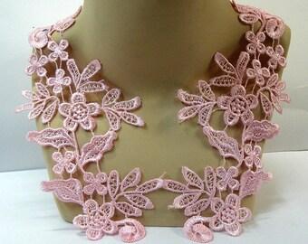 Light Pink Lace Appliques, Mirror Pair Appliques, Pale Pink lace Trim,  Tutu Decoration, Pink Dance Costume, #66