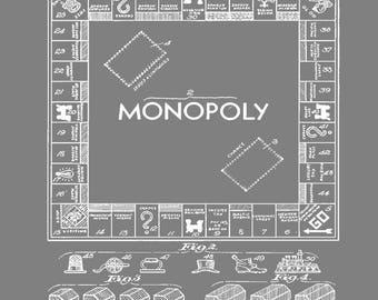 Monopoly board etsy vintage patent blueprint monopoly board wall print home decor office study art print malvernweather Choice Image
