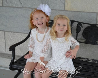 Autumn - Soft White Flower Girl Lace Dress, Girl dress,Lace Dress for infants, toddlers & girls sizes, 1T,2T,3T,4T,5T,6,7/8,9/10,11/12,13/14