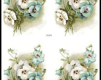Vintage Shabby Antique Blue and White Pansies Waterslide Decals~FL275
