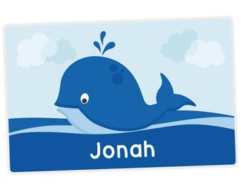 Whale Placemat - Personalized Placemat for Kids - Childrens Placemat - Set The Table - Laminated Placemat