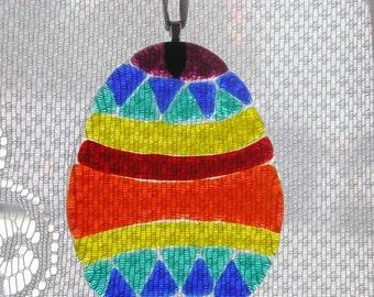 Handmade fused glass egg  suncatcher ornament