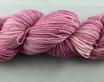 hand dyed sock yarn, color BLUSH, fingering weight, superwash merino and nylon
