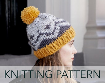 Knitting Pattern // Fair Isle Hat Beanie Pompom Ski Alpine Cap // McCallister Fair Isle Toque PATTERN
