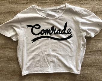 cropped white 'comrade' tee