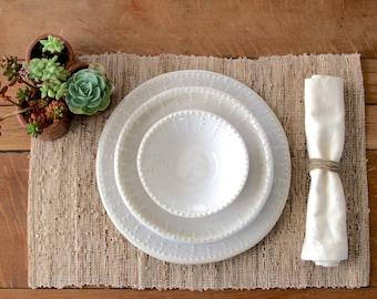 Stoneware Dinnerware - Creamy White - Dinner Plate Salad Plate Soup Bowl - One & Handmade dinnerware | Etsy