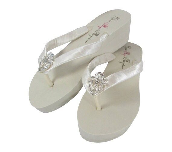 Flops Bling with Ivory Wedding amp; Antique Lace Rhinestone Vintage Flip fqfwFU