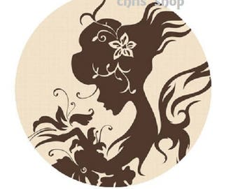18mm, woman silhouette on beige background