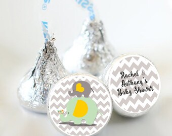 Baby Elephant Baby Shower Favors - Elephant Baby Shower Party Favors - Hershey® Kiss Stickers - Kiss Seals - 108 Stickers - Candy Sticker