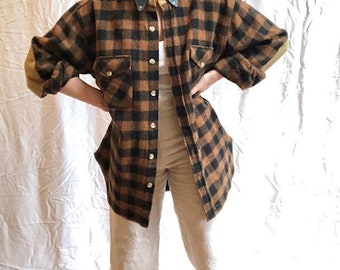 Plaid Shirt Jacket with Elbow Patches and Denim Collar