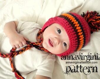 CROCHET PATTERN Peruvian Style Ear Flap Hat (baby) - PDF Crochet Pattern