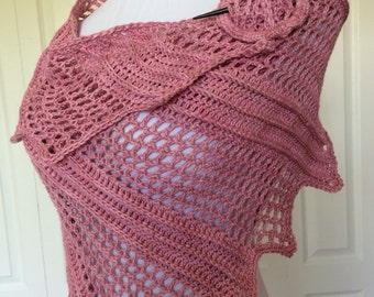 Hand crocheted shawl made from luxury yarn, dusty rose wrap, elongated triangular scarf,