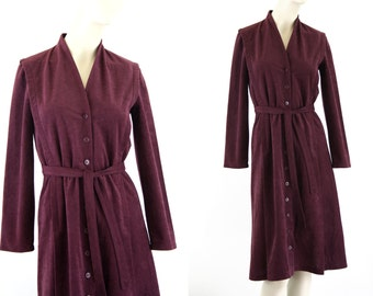 Caron Chicago Ultrasuede Oxblood Maroon Vintage Woman's Long Sleeve Belted Tunic Dress