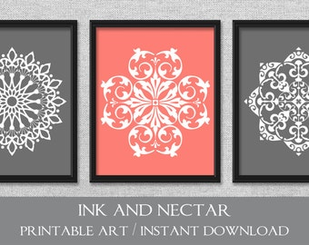 Printable Art, Set Of 3 Prints, Bedroom Art, Coral Art, Gray Art