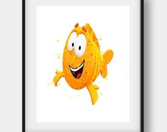 Bubble Guppies Print, Bubble Guppies, Bubble Guppies Art, Mr Grouper, Mr Grouper Art, Mr Grouper Print, Nursery Wall Art, Kids Room Decor