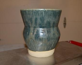Handmade medium Green/ gray vase