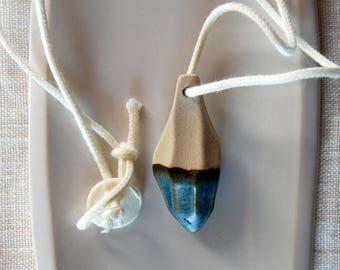 Ceramics necklace Blue clay necklace Both sided necklace Short necklace Ceramic jewelry Rustic necklace Pendant necklace Diamond shape