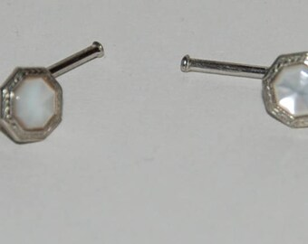 1930s era Pair of Formal Tuxedo Shirt Studs with Faceted Mother of Pearl Insets --  Free Shipping!