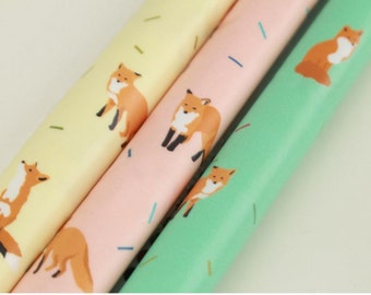 Laminated Cotton Fabric Fox printed Fabric made in Korea by the Yard