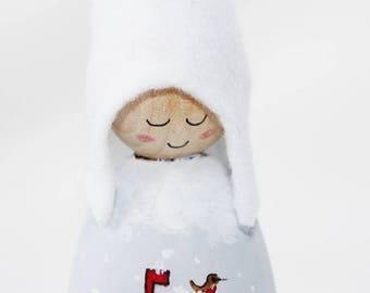 Christmas Mail Cornish Pixie Elf Wooden Decoration
