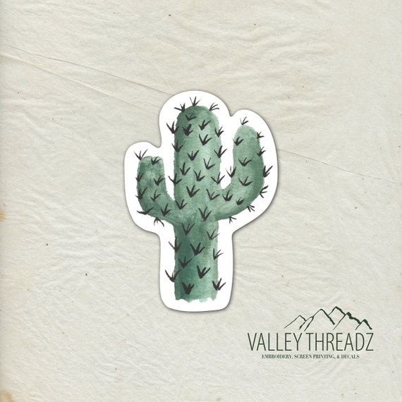 Cactus Decal Cactus Vinyl Sticker Watercolor Cactus Decal